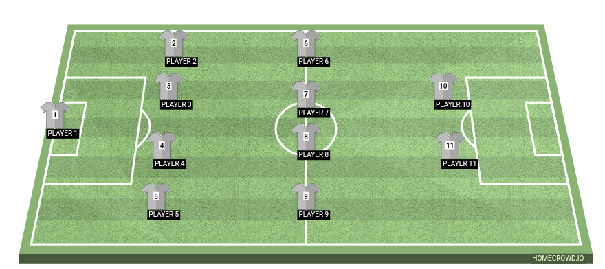 Football formation line-up Exp  4-4-2