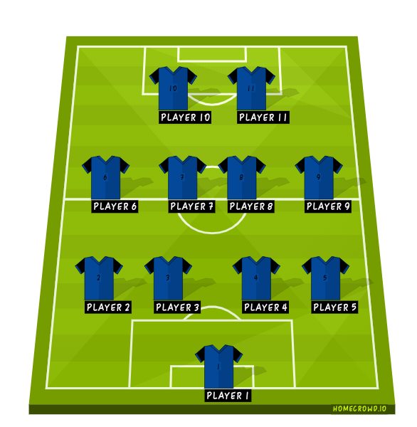Football formation line-up HORSE CLUB  4-4-2